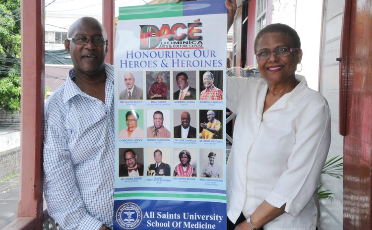 Mithel Paul, left, and Dr Avonelle Pinard Bruney hold promotional poster