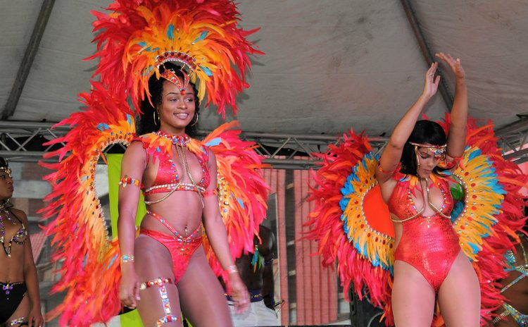 Performers display costumes at the opening of carnival 2018