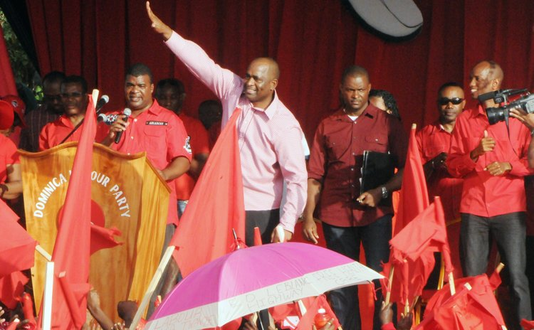 PM Skerrit waves to the crowd when he arrived at about five PM