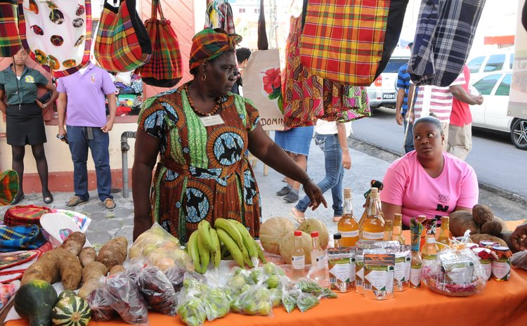 Local produce and creole clothes on display