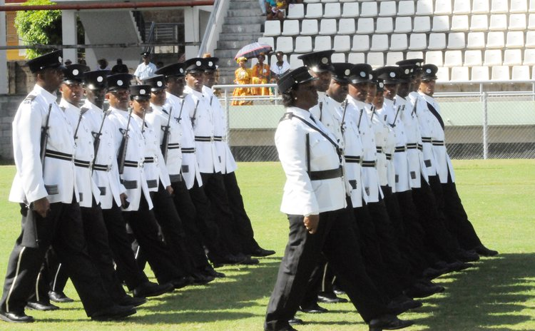 Police march during the Parade of Uniformed Groups at the 2015 Independence Day ceremony at the Windsor Park Stadium on November 3rd 2015