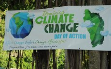 Sign at the Dominica Climate Change Day of Action at the Botanic Gardens, Roseau on Saturday November 28, 2015