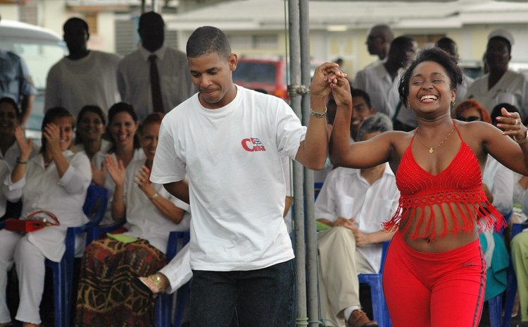 Cuban nurses dance at the Dominica Princess Margaret Hospital in 2006