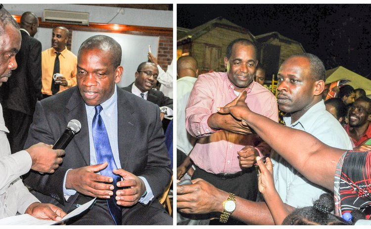 Left, Linton become UWP leader (here being interviewed by Matt Petier at Jobs Forum; right, Skerrit , security and fans at celebratory meeting in Lagoon, Roseau