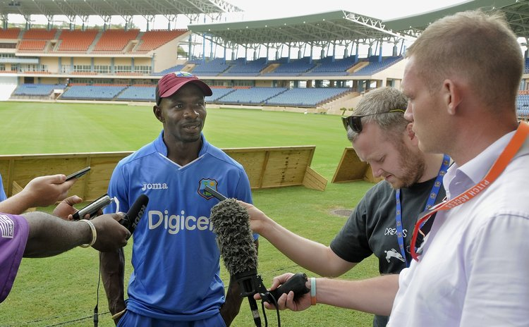 Grenadian Cricketer Devon Smith speaks to the press before the Second Test