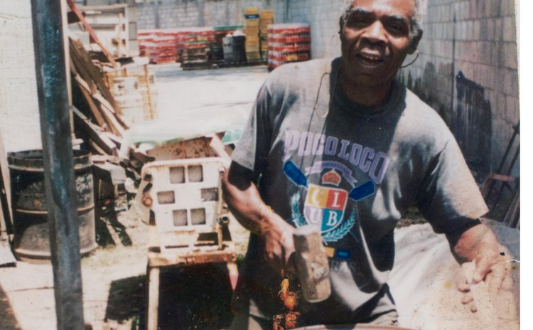 Eddie Andre in his pan-yard