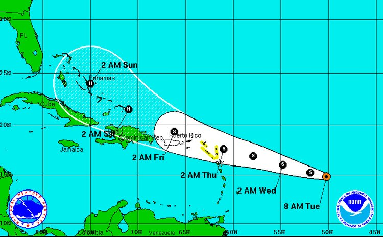 Path of Tropical Storm Erika on Tuesday morning August 25, 2o15