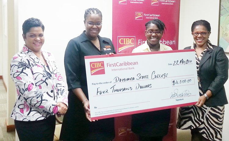 First Caribbean Bank officials present cheque to Dominica State College