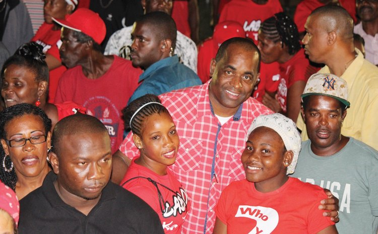 Police security scan crowd as Skerrit pose with fans