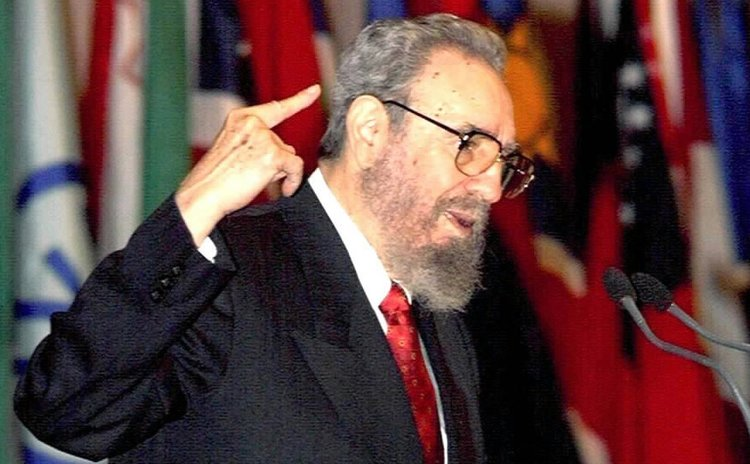 Image taken on April 12, 2000 shows Fidel Castro addressing the opening of the first South Summit in Havana, capital of Cuba