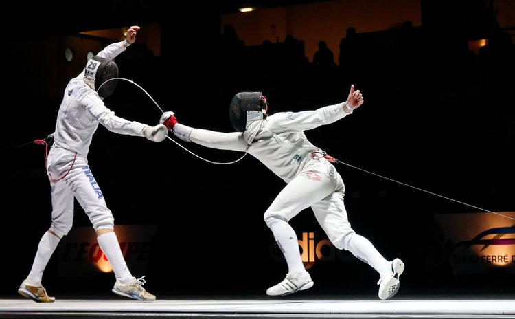 Final of the Challenge Réseau Ferré de France–Trophée Monal 2012, épée world cup tournament in Paris