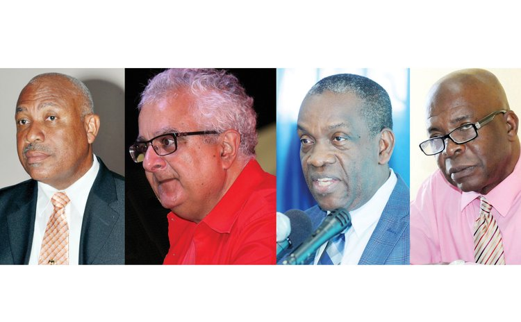 For and against electoral reform: Left to right, Felix Gregoire, Anthony Astaphan, Lennox Linton and Thomas Letang