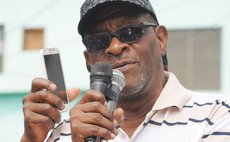 Former prime minister Edison James addressing protest meeting in Roseau on February 7 2017
