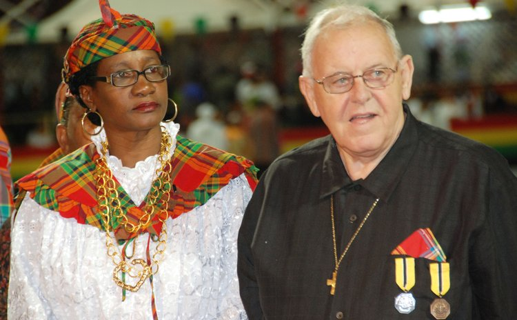 Fr Charles Vermeulen,right, Nathalie Sampson and