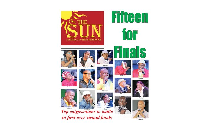 Front Cover of the SUN showing 15 Calypsonians in 2021 Finals