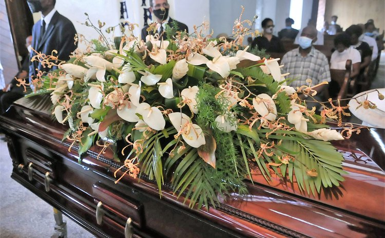 Coffin at a recent funeral service