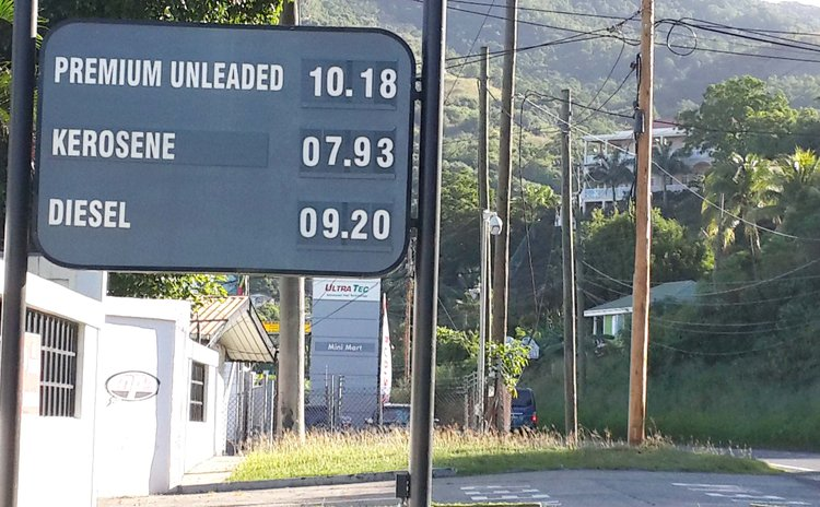 Gas prices shown on board near MP station at Canfield