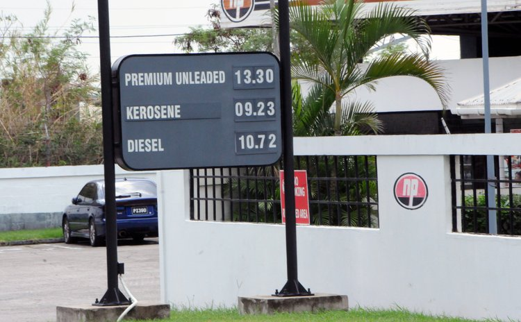 Signboard at the NP gas station at Canefield on July20 2015