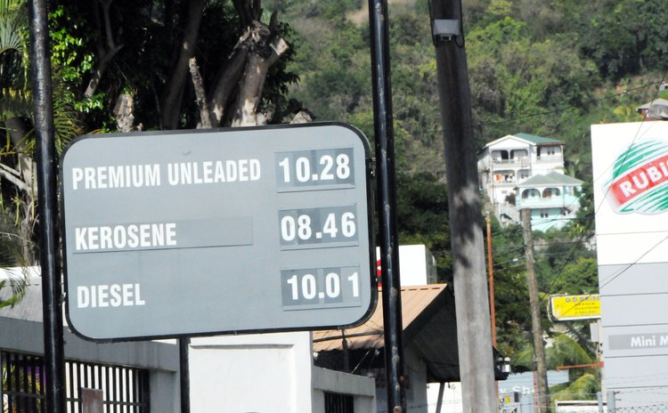 Prices of petroleum products on display at Canefield, Dominica