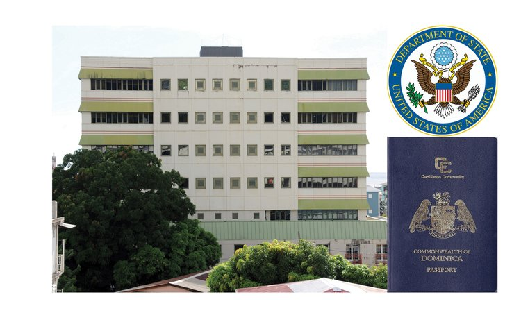 Government Headquarters, Dominican passport and US State Department logo