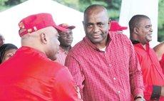 Greeting Minister Rayburn Blackmore- PM Skerrit
