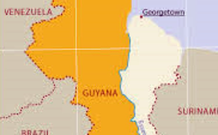 Yellow portion of the map of Guyana shows the territory that Venezuela claims