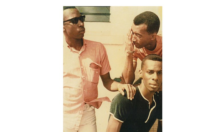 Herbert Thomas (L) retired basketballer and Economics Lecturer, with George Daniel (sitting) and Osborne (footballer); late 1960s-early 1970s