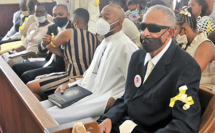 Havis Shillingford(right) and Conan Shillingford at the funeral service