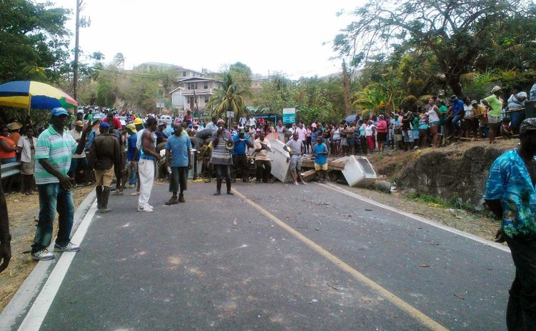 Villagers of Salisbury block main road today