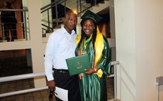 Pascal and her Dad at the graduation