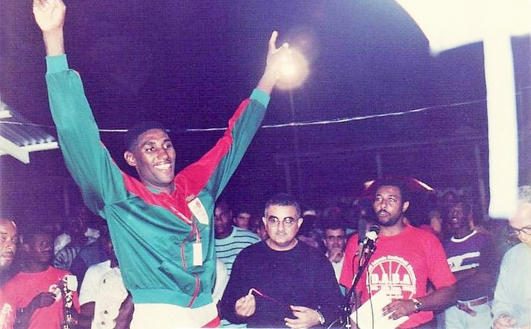 Ashworth Daniel at awards ceremony after Dominica won the 1993 Windward Islands Basketball Championship