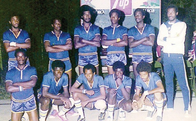 Members of the Dominica's National Team at 1st Windward Islands Basketball Tournament, 1975 (See story for complete caption of this photo)