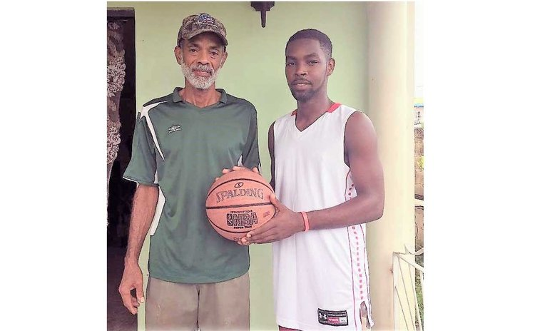 Former Dominica National Basketball Team Captain Oliver Burton with son Sharome, 2017