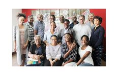 Ian Jackson, 5th from left, backrow at a writer's workshop