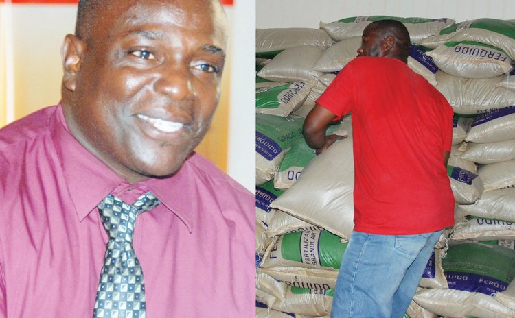 Agriclture Minister Johnson Drigo, left, and  fertilizer distribution centre