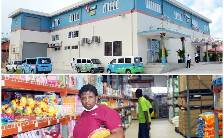 Top photo: Outside Mega Store and shoppers inside store