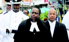 Judge Stephenson, front, at opening of court