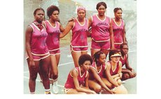 PIONEERS, Dominica's first women's basketball team, 1980 photo
