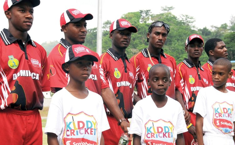 Young cricketers and members of the Dominican team