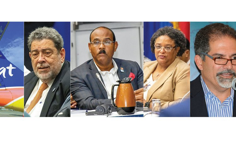 Left to right: LIAT aircraft, Gonsalves, Browne , Mottley and Nassief