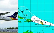 LIAT aircraft and path of Tropical Storm Erika