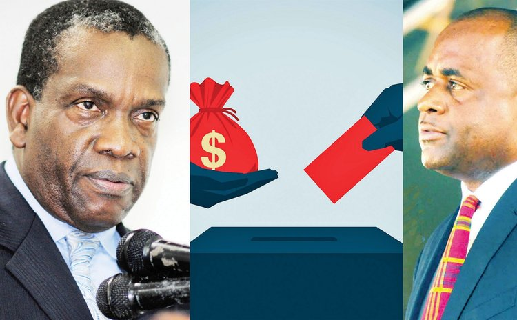 Money and the ballot box. Roosevelt Skerrit, right and Lennox Linton