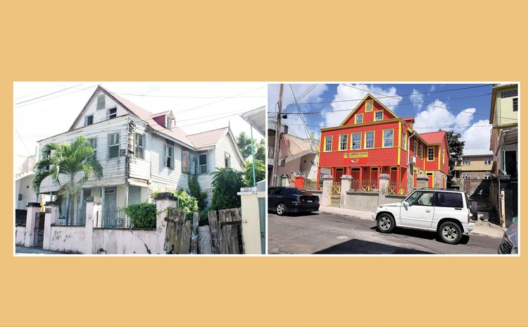Labour House: Old building, left, and newly renovated house