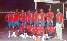 La Plaine's New India Bullets, 1988 or 1989. Richie Joseph standing far left, Coach Ron Green far right. Photo courtesy Ron Green.