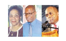 Left to right: Dame Eugenia Charles, Edison James and Roosevelt Skerrit