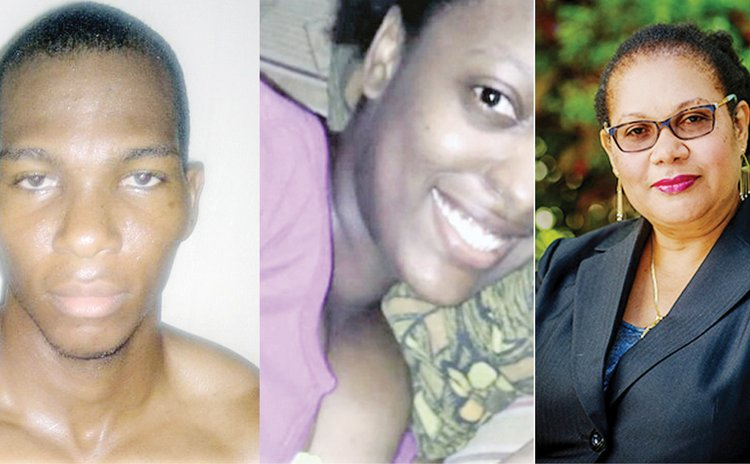 Left to right: Lewis, late girlfriend Riviere and Judge Adrian- Roberts