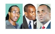 Dominica Political Leaders: Vital(DFP) left; Linton (UWP) centre; and Skerrit (DLP)