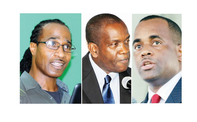 Dominica Political Leaders: Vital(DFP) left; Linton (UWP) centre; and Skerrit (DLP)