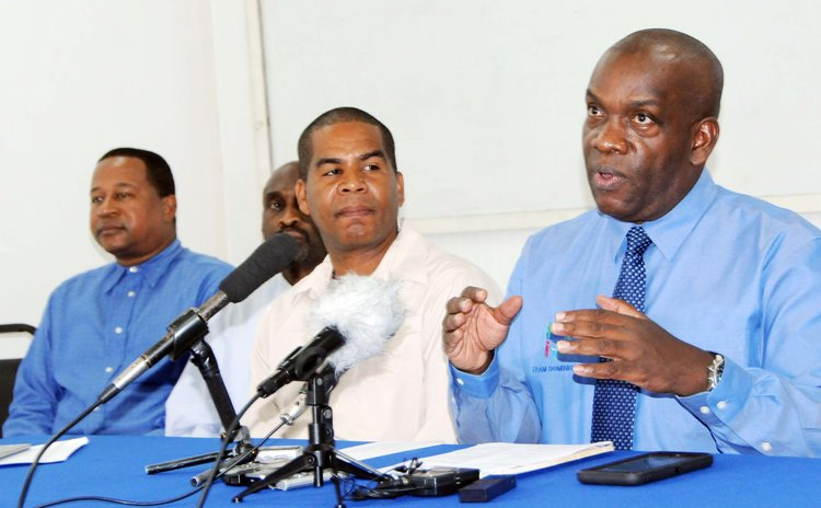 Right to left: Linton, Francis, Bazil and Thomas at today's UWP press conference