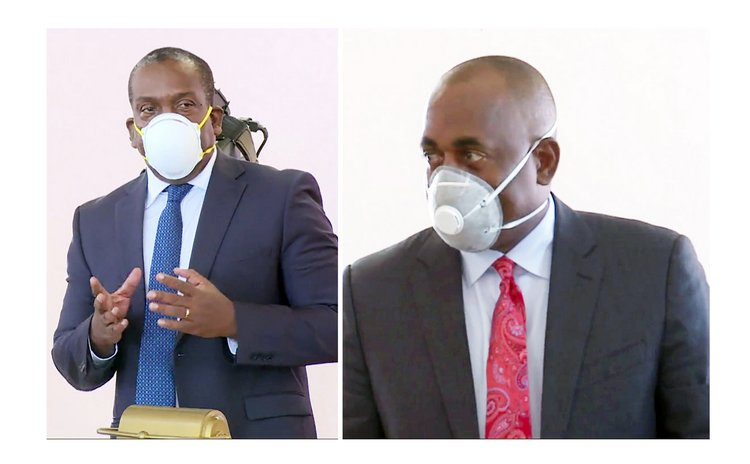 At COVID 19 debate in parliament on 6 April: Lennox Linton,left, and Roosevelt Skerrit